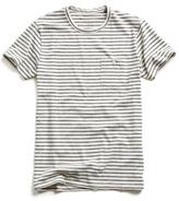Todd Snyder Striped Button Pocket T-Shirt in White