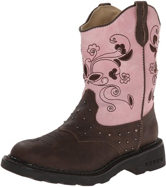 Roper Saddle Light Round Toe Cowgirl Boot (Toddler/Little Kid)