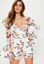 Missguided Cream Floral Print Flare Sleeve Playsuit, Floral
