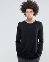 Weekday Pique Front Long Sleeve Grandad in Black