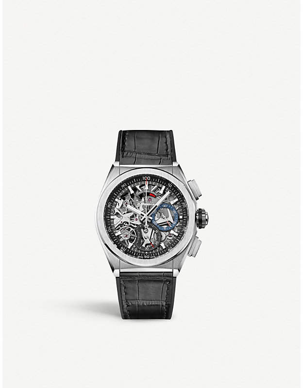 Zenith 95.9000.9004/78.R582 El Primero stainless steel and leather watch
