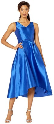 Tahari ASL Sleeveless Mikado High-Low w/ V-Neckline (Royal) Women's Dress