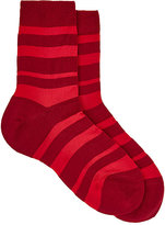 Maria La Rosa Women's Striped Ankle Socks-RED