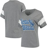 Top of the World Unbranded Women's Heathered Gray Kentucky Wildcats Brunch Sleeve Insert Tri-Blend V-Neck T-Shirt