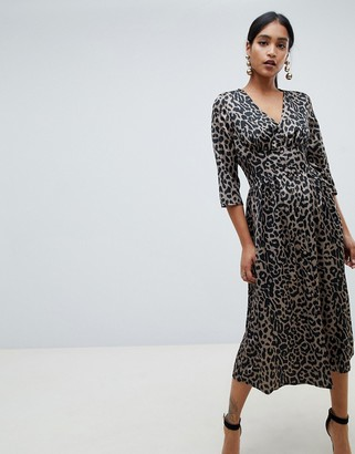 Asos DESIGN Carly button through maxi dress in satin leopard print