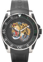 Gucci Dive Tiger-Dial 40mm Stainless Steel and Rubber Watch