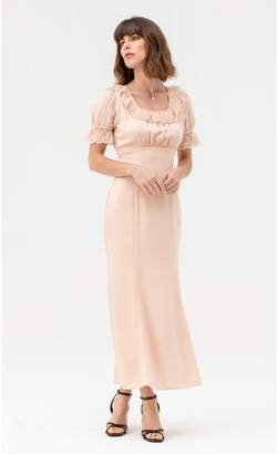 LIENA Satin Lace Midi Dress Short Sleeves in Nude