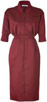 Jil Sander Cardinal Satin Silk Promise Shirtdress