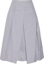 Tibi Pleated striped cotton-poplin skirt