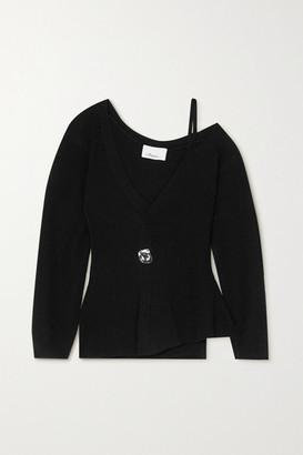 3.1 Phillip Lim Cold-shoulder Embellished Ribbed Wool-blend Sweater - Black
