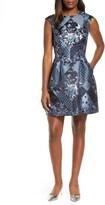 Vince Camuto Patchwork Jacquard Fit & Flare Dress