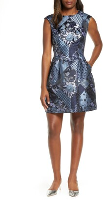 Vince Camuto Patchwork Jacquard Fit & Flare Dress