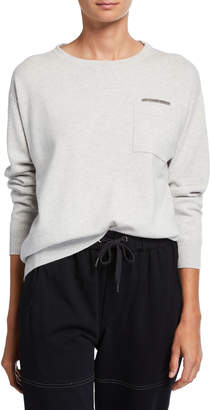 Brunello Cucinelli Cashmere Crewneck Sweater w/ Monili-Trim Pocket