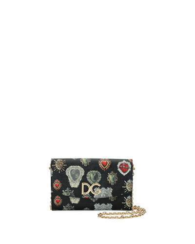 Dolce & Gabbana Dauphine Sacred Hearts Stampata Wallet On a Chain