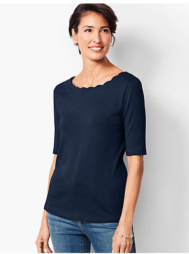 Talbots Elbow-Length-Sleeve Pima Scallop-Neck Top