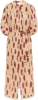 Zimmermann Belted Macrame-trimmed Floral-print Linen Midi Dress