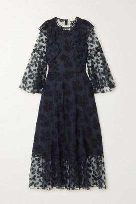 Chloé Ruffled Embroidered Tulle Maxi Dress - Navy