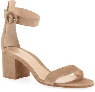 Gianvito Rossi Suede Ankle-Strap Chunky-Heel Sandals