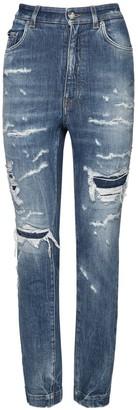 Dolce & Gabbana Destroyed High Waist Cotton Denim Jeans