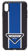 Prada - Logo Stripe Iphone Xs Max Rubber Phone Case - Mens - Blue