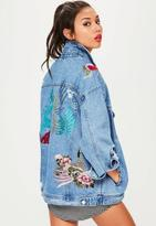 Missguided Blue Embroidered Oversized Denim Jacket, Blue