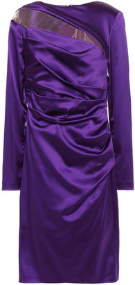 Talbot Runhof Draped Tulle-paneled Duchesse-satin Dress