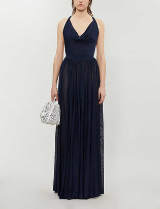 Cowl-neck crepe gown