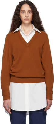 Chloé Brown Cashmere Iconic V-Neck Sweater