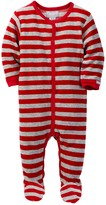 Coccoli Striped Sleeve Velour Footie (Baby Boys)