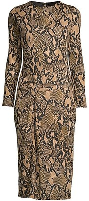 Donna Karan Python-Print Jersey Knit Dress