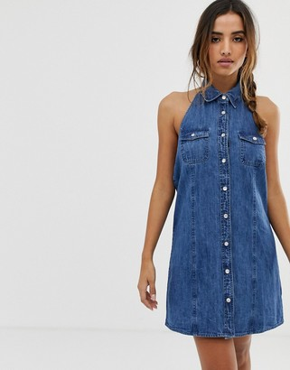 Asos DESIGN denim sleeveless shirt dress in midwash blue