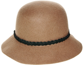 Nine West Pecan Braid-Trim Wool Felt Cloche