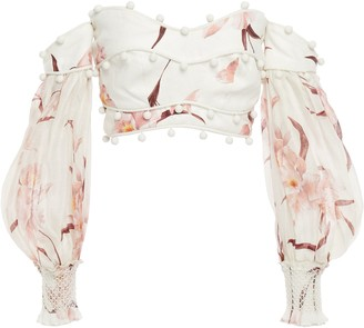 Zimmermann Off-the-shoulder Cropped Gauze-paneled Floral-print Linen Blouse