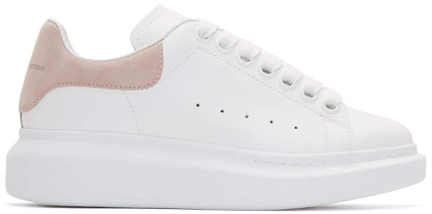 Alexander McQueen White and Pink Oversized Sneakers