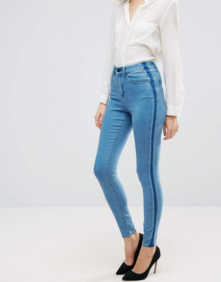 Asos 'SCULPT ME' Premium Jeans in Dee Mid Blue Wash with Shadow Side Panel