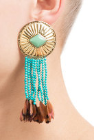Aurelie Bidermann Earrings with Turquoise and Pheasant Feathers