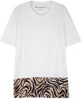 Marni White Printed-hem Cotton T-shirt