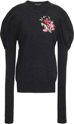 Dolce & Gabbana Embroidered Melange Wool Sweater