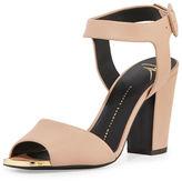 Giuseppe Zanotti Matte Leather Block-Heel Sandal
