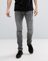 AllSaints Jeans in Skinny Fit Washed Gray with Distressing