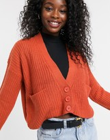 QED London cropped button through cardigan in rust