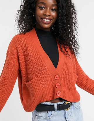 Qed London QED London cropped button through cardigan in rust-Orange