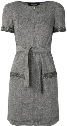 Paule Ka Belted Tweed Midi Dress
