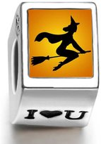 Soufeel 925 Sterling Witch On Broomstick Fly Photo I Love U European Charms Fit European Bracelets
