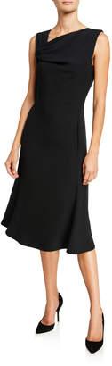 Giorgio Armani Techno Crepe Asymmetric-Neck Dress