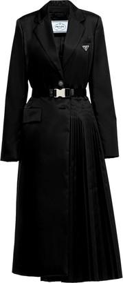 Prada Pleat-Detail Single-Breasted Coat