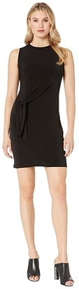 MICHAEL Michael Kors Tie Waist Crew Neck Dress (Black) Women's Clothing