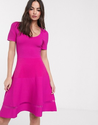 French Connection voletta crepe short sleeve dress-Pink