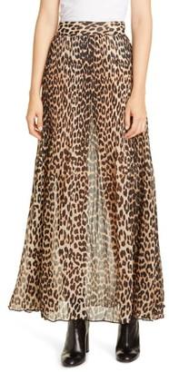Ganni Leopard Print Sheer Pleated Georgette Maxi Skirt