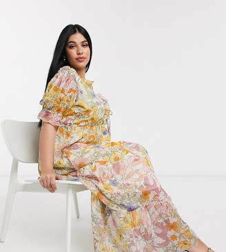 Neon Rose plus maxi dress with tiered skirt and ruffle frill in vintage floral